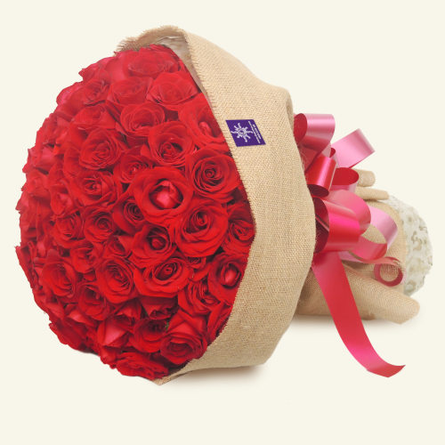 99 red roses bouquet by De Anthus Florist