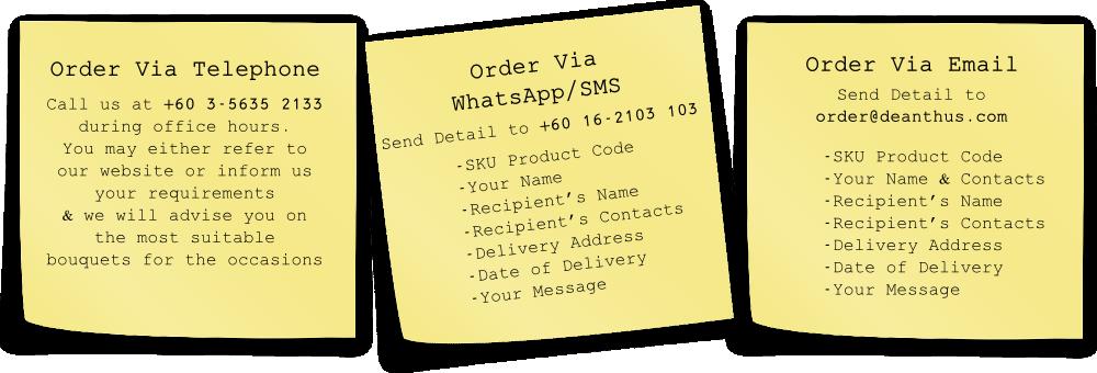 Flower Shop In Subang Jaya Offers Order Flowers via Telephone, WhatsApp & Email