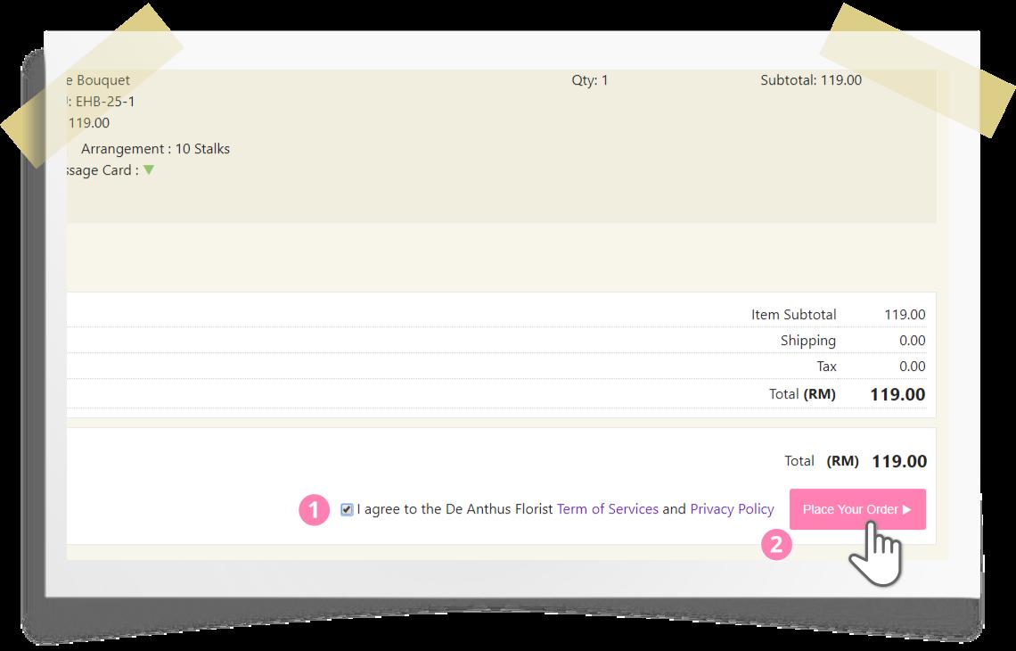 Online ordering step by step - step 9