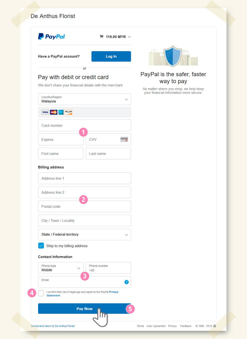Pay with PayPal step by step - step 3