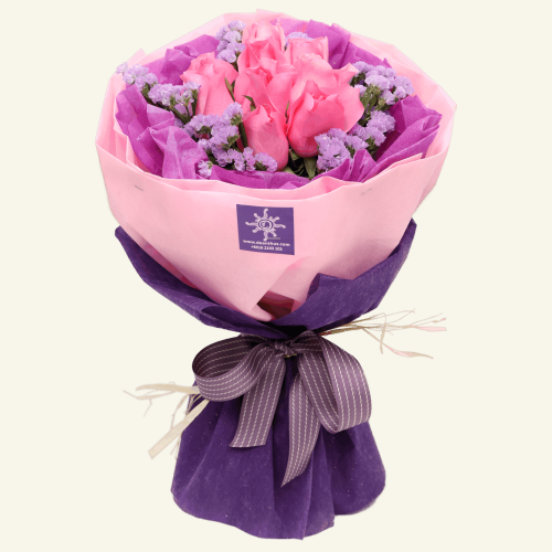Pink rose hand bouquet by De Anthus Florist