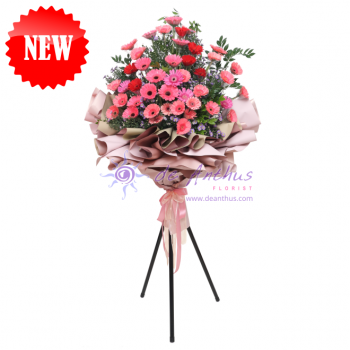 Congratulatory Flower with Stylish Tripod Stand
