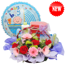 "New Born Gift Basket with 18"" Foil Balloon"
