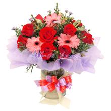 Rose & Gerbera Clear Vase Flower Bouquet