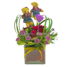 Rose Clear Vase Bouquet With Couple Bear