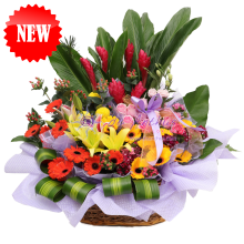 Deluxe Mix Flowers Basket