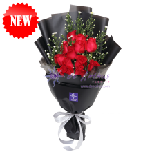 Korean Style Red Rose Bouquet - Black Wrapping