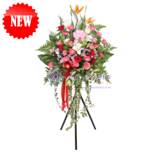 Grand Opening Flower with Stylish Tripod Stand