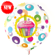 "Add On - 18"" Birthday Cup Cake Transparent Balloon"