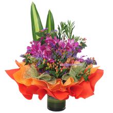 Orchid Clear Vase Bouquet
